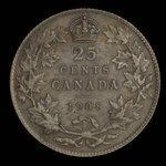 Canada, Edward VII, 25 cents <br /> 1908