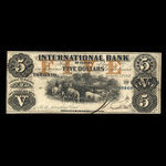 Canada, International Bank of Canada, 5 dollars <br /> September 15, 1858