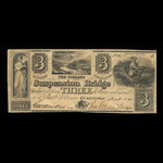 Canada, Niagara Suspension Bridge Bank, 3 dollars <br /> October 13, 1840