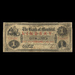 Canada, Bank of Montreal, 1 dollar <br /> January 2, 1857