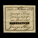 Canada, George King, 12 coppers <br /> June 1, 1772