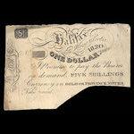 Canada, John Albro & Co., 1 dollar <br /> 1820