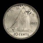 Canada, George VI, 10 cents <br /> 1947