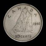 Canada, George VI, 10 cents <br /> 1940