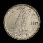 Canada, George VI, 10 cents <br /> 1943