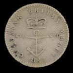 Great Britain, George IV, 1/16 dollar <br /> 1822