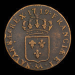 France, Louis XV, 1/2 sol <br /> 1719