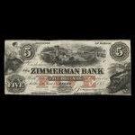 Canada, Zimmerman Bank, 5 dollars <br /> December 1856
