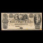Canada, Bank of Upper Canada (York), 100 dollars <br /> 1838