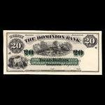 Canada, Dominion Bank, 20 dollars <br /> May 1, 1871
