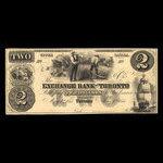 Canada, Exchange Bank of Toronto, 2 dollars <br /> May 1, 1855