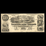 Canada, Exchange Bank of Toronto, 10 dollars <br /> May 1, 1855