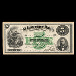 Canada, St. Lawrence Bank, 5 dollars <br /> December 2, 1872