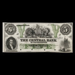 Canada, Central Bank of New Brunswick, 5 dollars <br /> November 1, 1866
