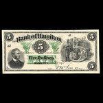 Canada, Bank of Hamilton, 5 dollars <br /> September 2, 1872