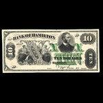 Canada, Bank of Hamilton, 10 dollars <br /> September 2, 1872