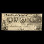 Canada, Gore Bank of Hamilton, 20 dollars <br /> 1848