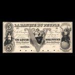 Canada, Banque du Peuple (People's Bank), 5 dollars <br /> 1849
