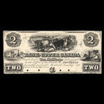 Canada, Bank of Upper Canada (York), 2 dollars <br /> January 31, 1851