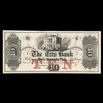 Canada, City Bank (Montreal), 10 dollars <br /> 1865