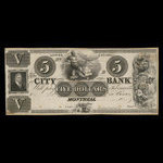 Canada, City Bank (Montreal), 5 dollars <br /> 1850