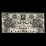 Canada, City Bank (Montreal), 100 dollars <br /> 1840