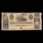 Canada, Bank of Ottawa, 3 dollars <br /> 1838