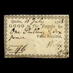 Canada, W. Cox, 1 shilling, 6 pence <br /> July 11, 1788