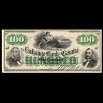 Canada, Exchange Bank of Canada, 100 dollars <br /> January 2, 1873