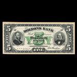 Canada, Molsons Bank, 5 dollars <br /> June 1, 1872