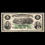 Canada, Maritime Bank of the Dominion of Canada, 5 dollars <br /> January 2, 1873