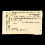 Canada, Army Bill Office, 1 dollar <br /> May 1814