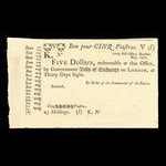Canada, Army Bill Office, 5 dollars <br /> May 1814