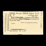 Canada, Army Bill Office, 10 dollars <br /> October 1814