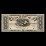 Canada, Bank of Montreal, 5 dollars <br /> 1839