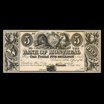 Canada, Bank of Montreal, 5 dollars <br /> August 2, 1844
