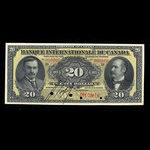 Canada, Banque Internationale du Canada, 20 dollars <br /> October 17, 1911