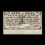 Canada, City of Hull, 3 dollars <br /> January 1, 1877