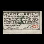 Canada, City of Hull, 3 dollars <br /> January 1, 1877