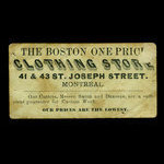 Canada, Boston One Price Clothing Store, no denomination <br /> 1887