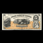 Canada, Union Bank of Canada (The), 5 dollars <br /> August 2, 1886