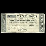 Canada, Hart's Bank, 40 sous <br /> October 1, 1837