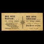 Canada, Bee Hive Bazaar & Grocery, no denomination <br /> 1887