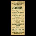 Canada, Britannia Piano Rooms, no denomination <br /> 1887