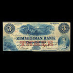 Canada, Zimmerman Bank, 3 dollars <br /> June 29, 1856