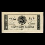 Canada, Cuvillier & Sons, 3 pence <br /> July 10, 1837