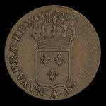 France, Louis XV, 1/2 sol <br /> 1720