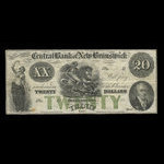 Canada, Central Bank of New Brunswick, 20 dollars <br /> 1866