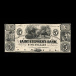 Canada, St. Stephen's Bank, 5 dollars <br /> 1860