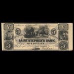 Canada, St. Stephen's Bank, 5 dollars <br /> June 1, 1852